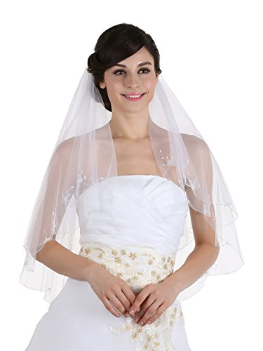 (2T 2 Tier Floral Pattern Beaded Scalloped Edge Bridal Veil - white Elbow Length 30