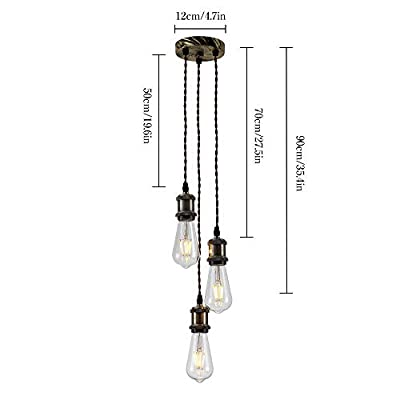 PIANUO 3 Way Ceiling Pendant Cluster Light Fitting Lights E26 Socket Hanging Light Industrial Ceiling Lights for Living Room Dining Room Bedroom Office