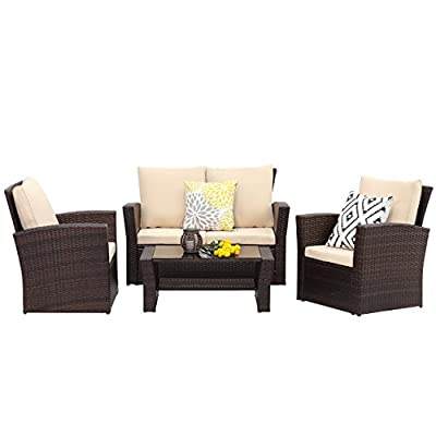 Wisteria Lane 5 Piece Outdoor Patio Furniture Sets, Wicker Ratten Sectional Sofa with Seat Cushions,Brown - HANDWORK MATERIAL - Constructed from strong galvanized steel frame and commercial grade hand woven weather-resistant PE rattan won't rust or fade.It's a handsome décor to your patio, garden, park, or yard UPGRADED COMFORT - This contemporary outdoor sectional sofa comes with thick lofty sponge padded water resistant cushions, wide and deep chairs will provide enough room to seat comfortably EASY CLEANING - Table with removable tempered glass adds a sophisticated touch and allows drinks, meals, or decoration on top. Water resistant cushions with removable covers make cleaning and maintenance easier - patio-furniture, patio, conversation-sets - 41ikOX0b 0L. SS400  -