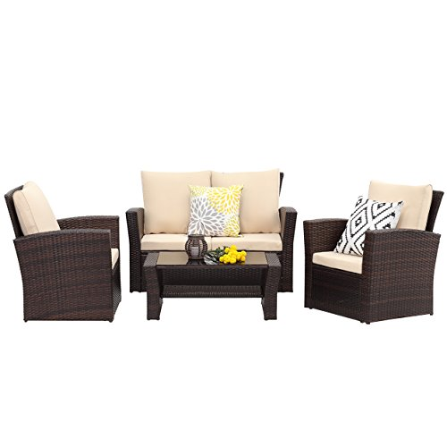Wisteria Lane 5 Piece Outdoor Patio Furniture Sets, Wicker R