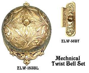 Recreated Interior Mechanical Victorian Twist Doorbell SET (Victorian Twist Doorbell)