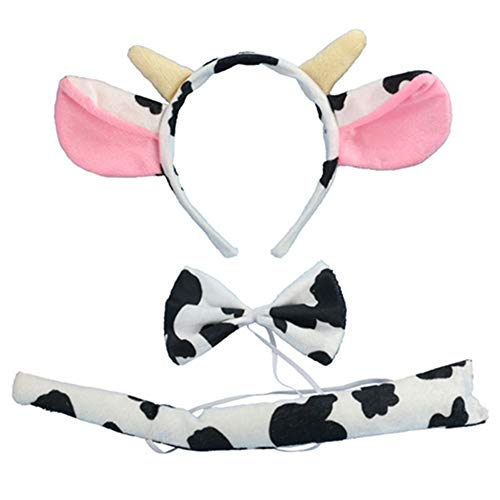 (Christmas Headband Mouse Dalmatian Ears and Tail Set Kids Halloween Costume Kit (Costume: Milk)