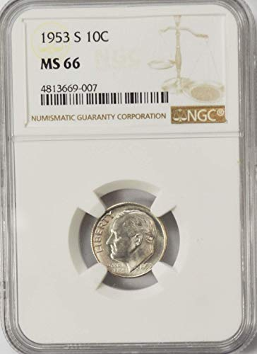 1953 S Roosevelt Dime 90% Silver AZD16 10c MS66 NGC