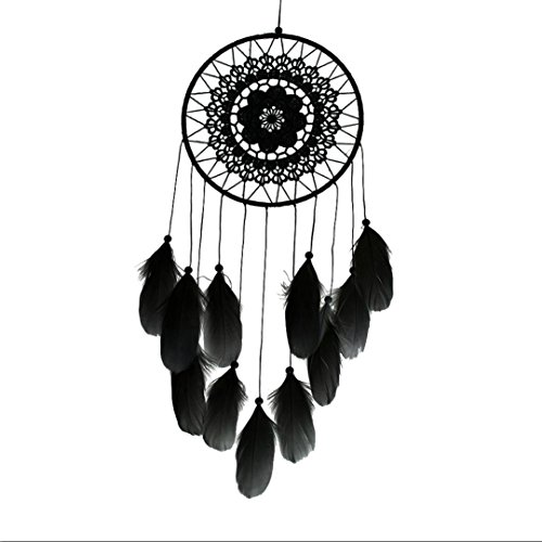 Euone Handmade Lace Dream Catcher Feather Bead Hanging Decoration Ornament Gift (Black)