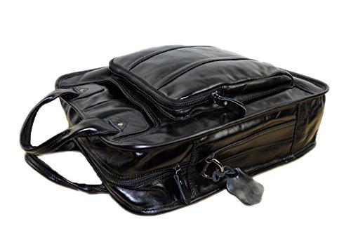 Genda 2Archer Multiuso Cuero Bolsa de Asas Oficina Bolso Daypack (Negro) Negro