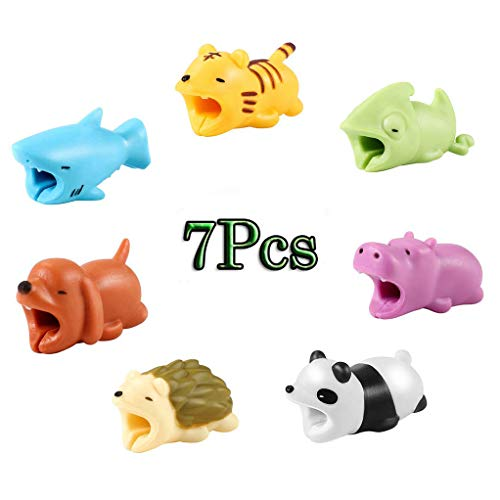 Price comparison product image Cable Protector 7 Pcs Cable Biters Cable Chompers Cable Chewers Cute Animal Cable Accessory Phone Cables Protector Prime Cable Accessory (Dog+Shark+Hedgehog+Tiger+Panda+Hippo+Axolotl) (Multicolor)