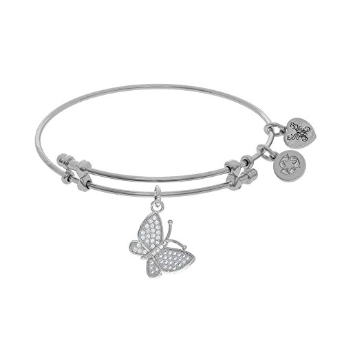 JewelryWeb Brass with White Finish Charm with White CZ Closed Butterfly White Angelica Bangle Bracelet