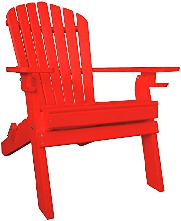 Poly Lumber Wood Folding Adirondack Chair – Bright Red