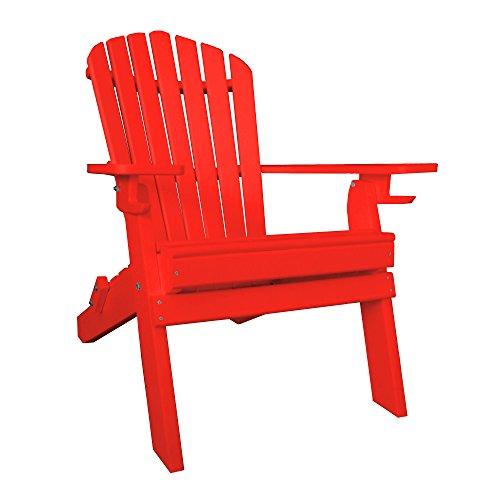 Furniture Barn USA 7 Slat Poly Lumber Wood Folding Adirondack Chair - Bright Red