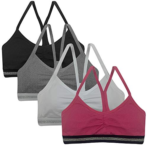 Popular Girl's Racerback Cotton Bra with Removable Padding - 4 Pack