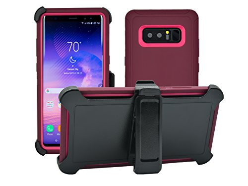 Samsung Galaxy Note 8 Cover | Holster Case | Full Body Military Grade Edge-to-Edge Protection with carrying belt clip | Drop Proof Shockproof Dustproof | Burgundy / Pink