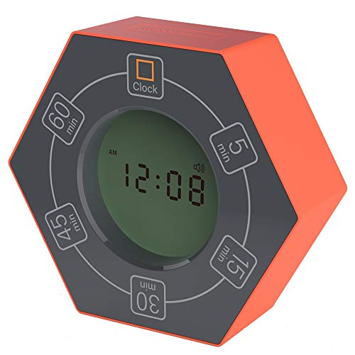 Hexagon Rotating Timer, 5,15, 30, 45, 60 Minute Preset Countdown Timer, Easy-to-Use Time Management Tool for Classroom, Meeting, Cooking, Study, Homework, Workouts (Orange)