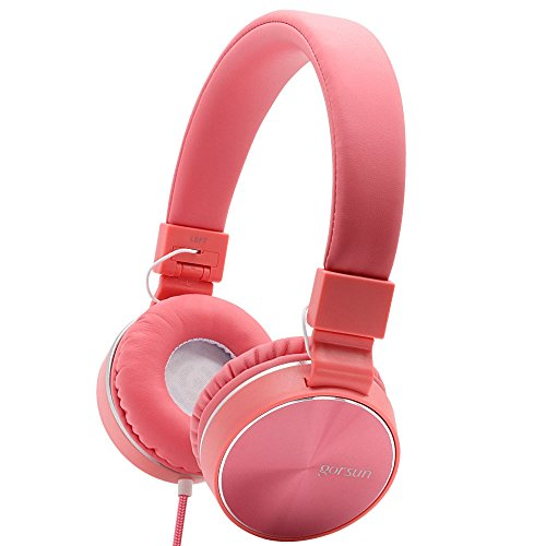 - ONTA Gorsun Ear Headphones with Microphone, Wired HiFi Stereo Headphones with Comfortable Leather Protein Earpads Noise Cancellation Lightweight (Pink)