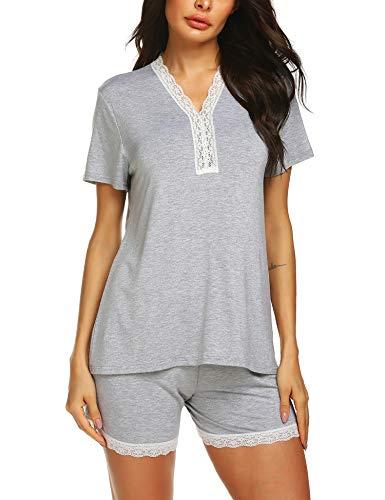 (URRU Women Cotton Pajama Set Henley Top with Pants Short Sleeve Loungewear Set Sleepwear Grey L)