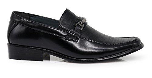 Enzo Romeo Sayri Mens Classsic Italien Design Mode Loafers Halka På Finskor Svarta