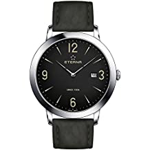 Eterna Men's Eternity 42mm Black Leather Band Steel Case Sapphire Crystal Quartz Watch 2730-41-48-1397