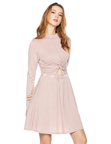 Rebel Canyon Women's Young Long Sleeve Burn Out Jersey A-Line Dress with Knot Detail Front Small Woodrose - Knot Detail Dress