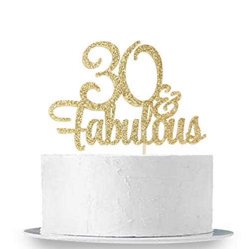 INNORU Gold Glitter 30 & Fabulous Cake Topper - 30th Birthday Party Decoration Sign - Adult Birthday Party Supplies