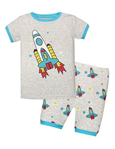 Meteora Boys Short Pajamas Toddler Kids Super Hero PJS Snug Fit Sleepwear Summer Clothes Shirts (Rocket 1, 6T) ()