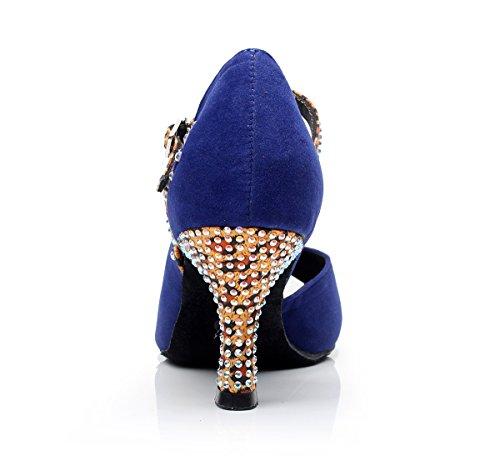 Tda Qj7020 Donna Cristalli Scamosciata Salsa Tango Da Ballo Latino Scarpe Da Ballo Festa Di Nozze Blu
