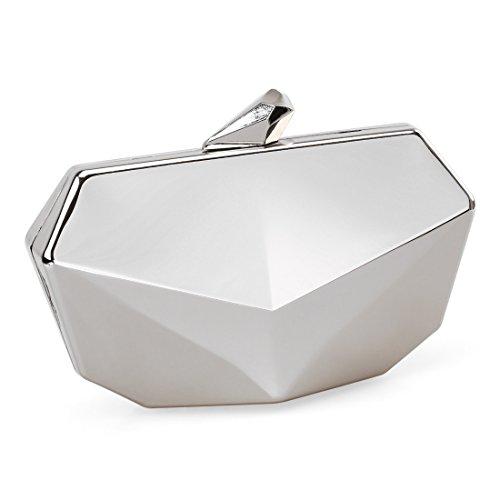 Metallic Fox Face Shaped Hard Case Clutch Evening Handbag w/Detachable Strap - Brilliant Silver