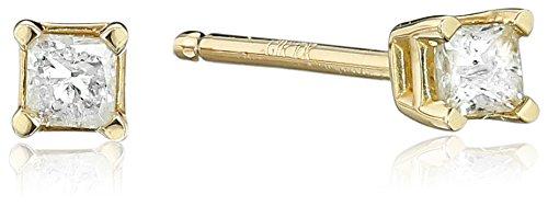 10k Yellow Gold Princess Diamond Stud Earrings (1/10 cttw, J-K Color, I2-I3 Clarity) ()