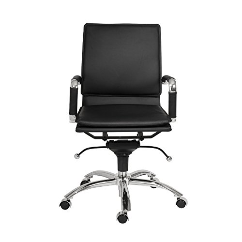 Cheap Euro Style Gunar Pro Adjustable Office Chair with Chromed Steel Base, Low Back, Black
