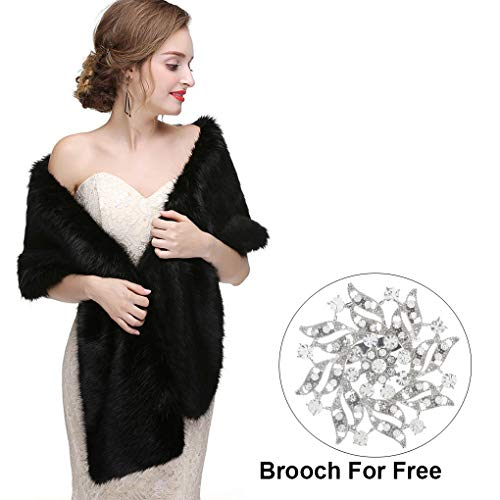 CanB Women's Large 1920 Faux Fur Shawl Bridal Wedding Fur Wraps and Bolero Faux Mink Shrug for Women and Girls (Black)