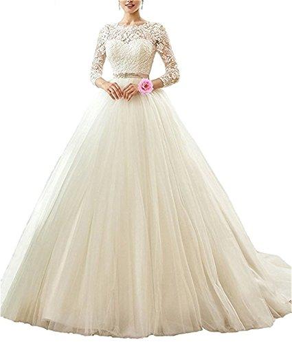 XUYUDITA Cuello de la mujer cuello vestidos de novia V satšŠn vestidos de novia de encaje con mangas largas: Amazon.es: Ropa y accesorios