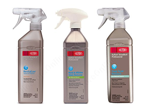 3 Piece Clean & Protect Kit - DuPont StoneTech Professional - Revitalizer Cleaner & Protector Citrus + Mold & Mildew Stain Remover + Soap Scum Remover - 24 Ounce Spray Bottles