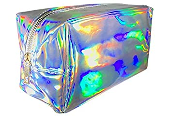 a8af74a084 Amazon.com   Silver Holographic Cosmetic Bag (Silver)   Beauty