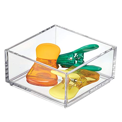 InterDesign Clarity Office Supplies Desk Drawer Organizer for Paper Clips, Sticky Notes, Highlighters, Tape - 4 x 4 x 2, Clear