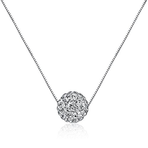 Crystal Sterling Silver Chain (CIShop S925 Sterling Silver Chain Full Diamond Crystal Ball Sparkle Colla Pendant Necklace for Women)