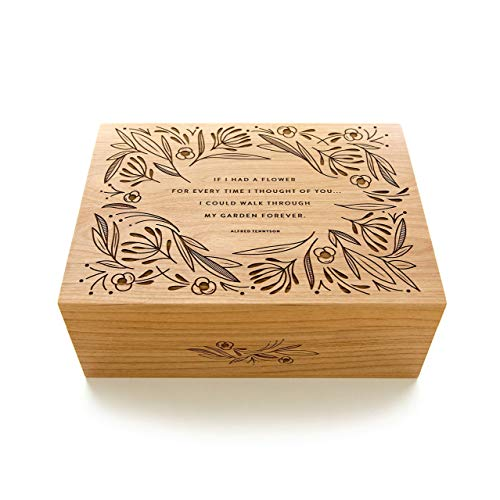 Christmas Box Keepsake - Garden of Flowers Laser Cut Wood Keepsake Box (Valentine's Day Gift/Wedding / 5th Anniversary/Love/Heirloom/Decorative/Handmade)
