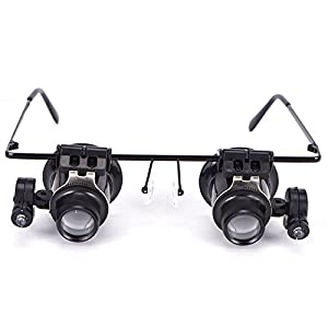 Eyeglasses Jeweler 20X Magnifier Magnifying Glass Loupe LED Light Watch Repair By Kurtzy TM