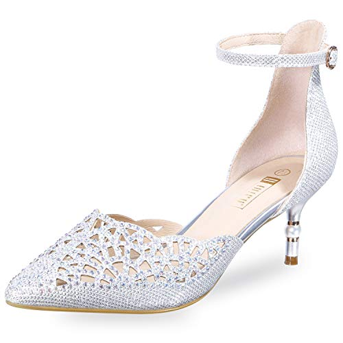 IDIFU Women's IN2 Candice Wedding Rhinestones Sequins Low Kitten Heels Pumps Dress Evening Shoes for Women Bridal Bride Silver 7.5 B(M) US