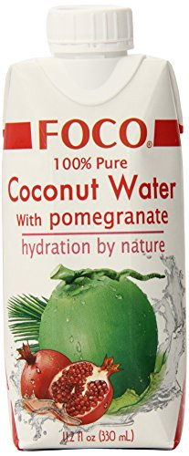 FOCO Pure Coconut Water, Pomegranate, 11.2 Fluid Ounce (Pack of 12) (Pomegranate Coconut)