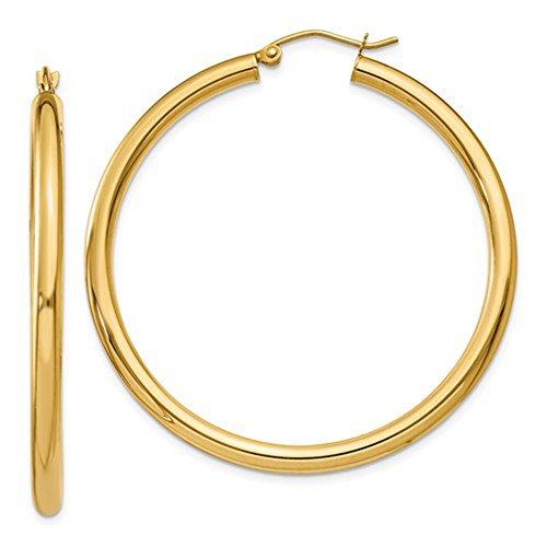 14k Yellow 3mm Hoop Earrings - Large 14K Yellow Gold Thick Tube Hoop Earrings, (3mm Tube)