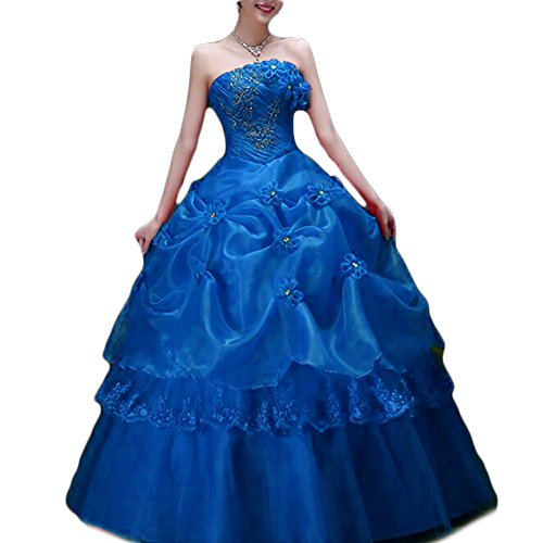 Favors Womens Quinceanera Dress Ball Gown Long Tulle Strapless Prom Gown Royal Blue 2