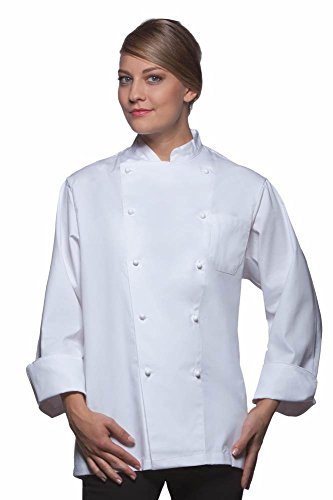 Pflegeleichte Basic Kochjacke für Bistro + Gastronomie + Küche + Bäckerei M,White