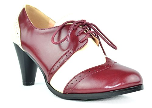 White Tone Chase amp; up 5 Burgundy Oxford Low Women's Chloe Two Dora Heel Lace nZ4ZfWSq