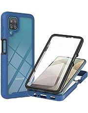Lijc Hoesje voor Samsung Galaxy A12 Ingebouwd PET Scherm Beschermer 360°Volledige Lichaam Slim ArmorPantserkoffer Hybride Flexibel Zachte TPU Siliconen en Moeilijk PC Schokbestendige Hoes-Blauw