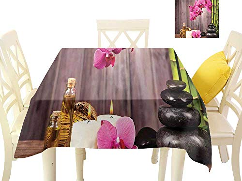 W Machine Sky Dustproof Square Tablecloth Spa Decor Spa Orchid Flowers Rocks Bamboo Asian Style Aromatherapy Massage Therapy W70 xL70 Suitable for Buffet Table, Parties, Wedding (Galaxy Bench Therapy)