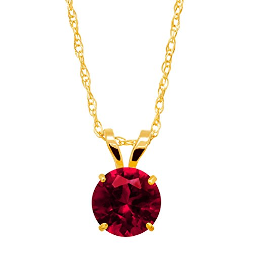Ruby Gold Solitaire Created (1 ct Created Ruby Round-Cut Solitaire Pendant Necklace in 10K Gold)