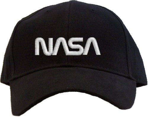 Logo Embroidered Baseball Cap - Nasa - White Worm Logo Embroidered Baseball Cap - Black