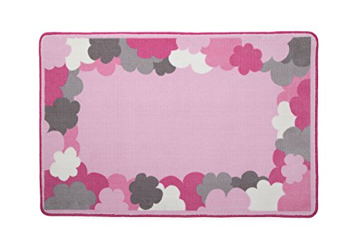 Kids Area Rug, Girls Clouds | Children's Room Carpet in Pink, Grey and Hot Pink | Delta Children (Pink Carpet Grey And)