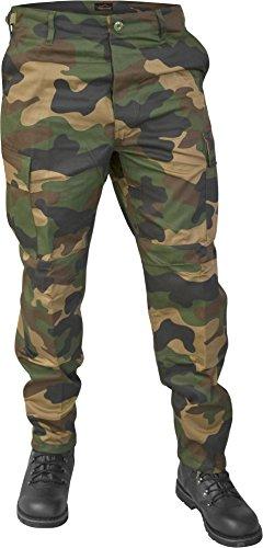 Lange Jagdhose Jägerhose aus robustem Baumwollmischgewebe in verschiedenen Farben Farbe Woodland Größe M
