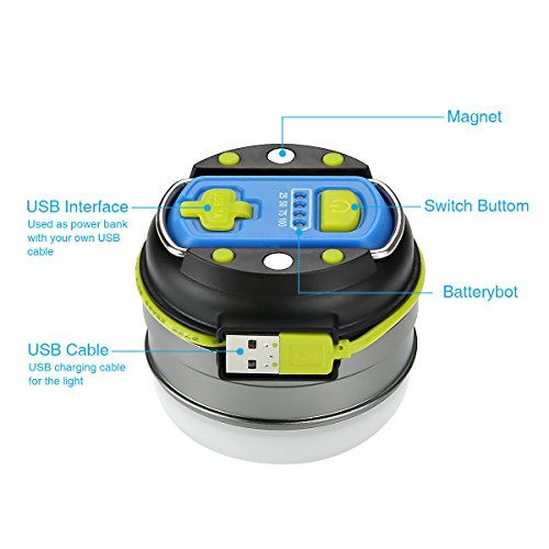 LE Portable LED Camping Lantern Magnetic Base 3000mAh Power Bank USB Rechargeable 280lm LED Tent Light 3 Modes IPX4 Water Resistant Lamp Hiking Fishing Indoor Outdoor Emergency