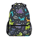 Lightweight Backpack for School, Cute Cartoon Dinosaurs Roaring Pterodactyl Funny Triceratops Stegosaurus Bookbag Casual Daypack for Travel with Bottle Side Pockets