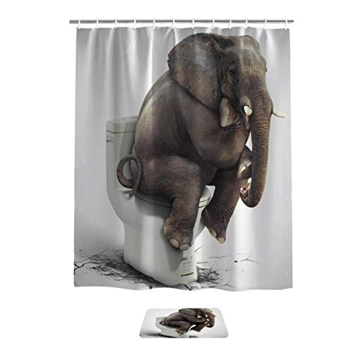 SPXUBZ Bathroom Shower Curtain and Rug Mat Set, Thinking Elephant Sitting On The Toilet Great Decor Polyester Fabric Curtain with 12 Hooks Gift for Family and Friend